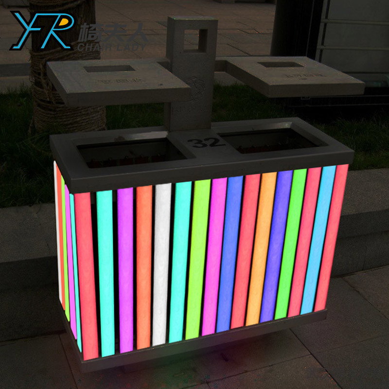 Led Color Charging Outdoor Plastic Garbage Can